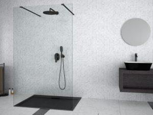 Kabina prysznicowa Walk-In przejrzyste szkło Besco Aveo Due Black 90x195 cm ADB-90-195C