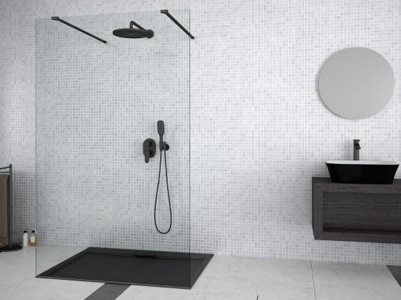 Kabina prysznicowa Walk-In przejrzyste szkło Besco Aveo Due Black 120x195 cm ADB-120-195C