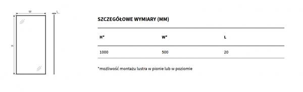 Zdjęcie Lustro prostokątne Excellent Kuadro 100×50 biały mat DOEX.KU100.050.WH