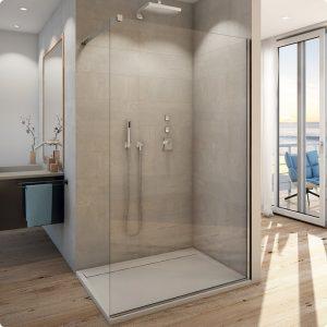 Ścianka prysznicowa wolnostojąca Walk-In SanSwiss Easy 120 cm srebrny połysk / szkło przezroczyste STR4P1205007