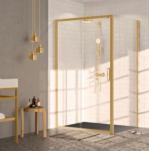 Drzwi suwane 1-częściowe ze stałym segmentem Huppe Classics 2 EasyEntry GOLD EDITION Prawe 100cm C25601.096.322 Anti-plaque