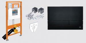 Stelaż podtynkowy do WC + przycisk spłukujący Exclusive 2.0 czarny mat + wsporniki + uszczelka Jomo Jomotech 174-91102600-00