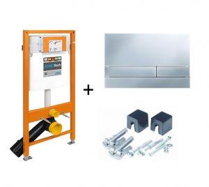 Stelaż podtynkowy do WC + przycisk spłukujący Exclusive 2.0 chrom/mat + wsporniki Jomo Jomotech 174-91101100-00