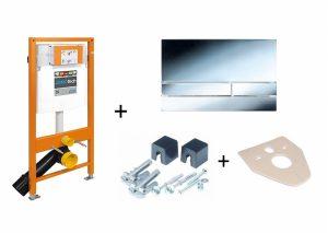 Stelaż podtynkowy do WC + przycisk spłukujący Exclusive 2.0 chrom/połysk + wsporniki  + uszczelka Jomo Jomotech 174-91101400-00