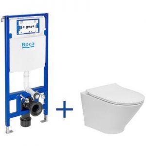 Zestaw podtynkowy Duplo One + Miska WC podwieszana Gap Round Compacto Rimless z deską Slim, Roca Gap A893104480