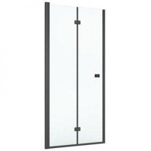 Drzwi prysznicowe 2 skrzydłowe łamane Roca Capital 80x195 cm czarny mat/szkło przezroczyste MaxiClean AM4508016M