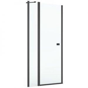 Drzwi prysznicowe z pole stałym Roca Capital 80x195 cm czarny mat/szkło przezroczyste MaxiClean AM4608016M