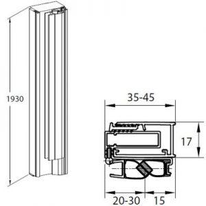 Profil ścienny z uszczelką magnetyczną do wnęki 195 cm Roca Capital czarny mat AM38195060