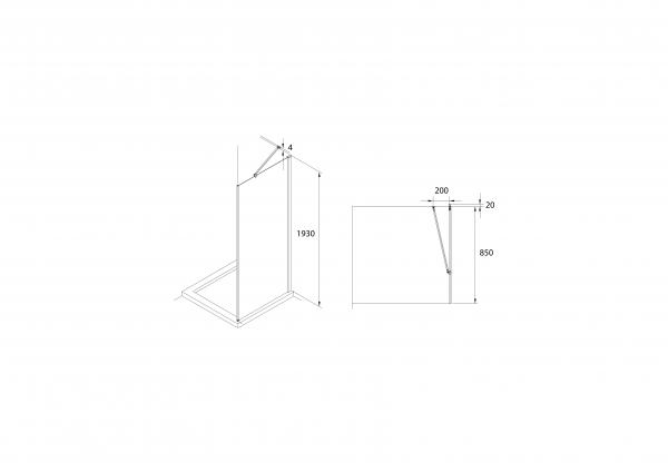 Zdjęcie Ścianka prysznicowa boczna Roca Capital 90×195 cm czarny mat/szkło przezroczyste MaxiClean AM4409016M