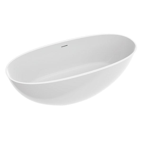 Zdjęcie Wanna wolnostojąca marmurowa Marmorin WILA I 180×80 cm biały z przelewem P_W_619_01_1800_0_06