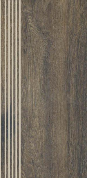Stopnica prosta nacinana Paradyż Aveiro Brown Mat 29,4X59,9 cm
