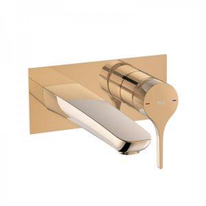 Bateria umywalkowa jednouchwytowa scienna Cold Start Roca Insignia rose gold A5A353ARG0